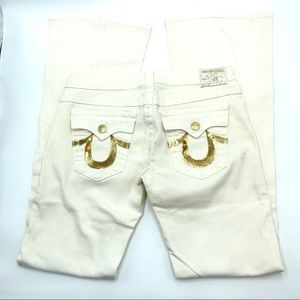 True Religion Ivory Flare Jeans, Gold Trim & Logo